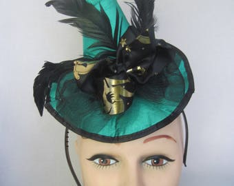 Grass Green Stuffed Satin Mini Witch Hat with Black Feathers, Horsehair and Black n Gold Center Bow