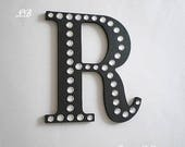 "BLING WALL LETTERS - Handpainted Black w/ Clear Rhinestones or choose color- 8"" Initials, Names or Words in A-Z"