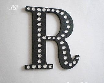 """BLING WALL LETTERS - Handpainted Black w/ Clear Rhinestones or choose color- 8"""" Initials, Names or Words in A-Z"""