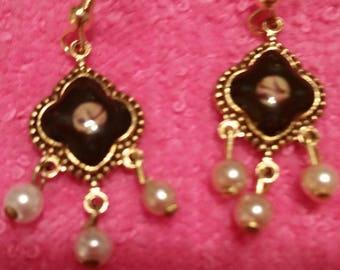 FRENCH ENAMEL CUFFLINK Earrings fired enamel Detailed Flower design Vintage Pearl drops