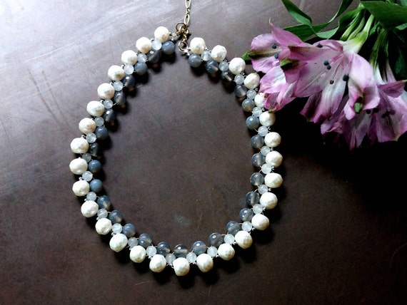 Freshwater pearl bridal necklace - pearl and gemstone necklace