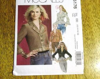 MODERNIST Jean Jacket / BOHO Bolero Jacket w/ Ruffle Peplum & Cuffs - Plus Size (12 - 14 - 16 - 18) - UNCUT Sewing Pattern McCalls 5176
