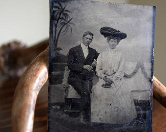 Antique Tin Type Photograph w/Good Looking Young Man Smoking A Cigar ~ Portrait, Victorian, Edwardian