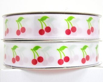 Red Cherry Ribbon 5/8 inch 3 yards, White Ribbon with Cherries, Red Berries, Fruit Ribbon, Berry Ribbon, Summer Ribbon