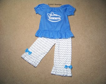 Dallas Cowboys Outfit / Shirt + Pants / Blue & White / Glitter / Dallas / Football / NFL/ Newborn / Infant / Baby / Girl / Toddler/ Boutique