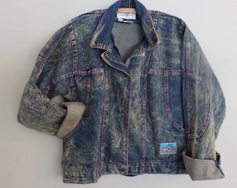 Acid wash distressed Denim Jean Jacket  80s vintage grunge denim Jacket (M-L)
