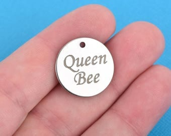 "QUEEN BEE Charms, Stainless Steel Quote Charms, 20mm (3/4""), choose quantity, cls0094"