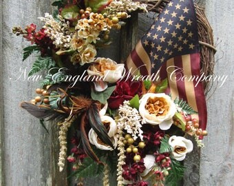 Patriotic Wreath, Americana Wreath, 4th of July Wreath, Elegant Patriotic, Victorian Wreath, Designer Patriotic Wreath, Tea Stained Flag