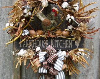 Farmhouse Wreath, Kitchen Wreath, Cotton Ball Wreath, Designer Rooster Wreath, Fall Wreath, Whimsical Chicken Wreath, Country Cottage Wreath