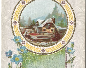 Snow Covered Cottage Home Happy New Year Vintage Postcard Holiday Greeting Card