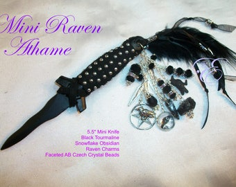 The Raven Mini-Athame - Special Edition  --  Black Kris Blade, Embellished to honor the Raven