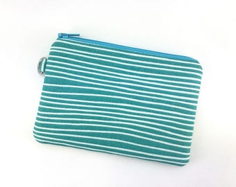 Keychain Pouch, Coin Purse, Zipper Wallet, Card Pouch, Change Purse, Gift for her, Padded Pouch - Sea Foam Stripe