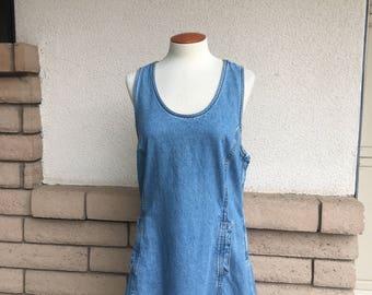 Vintage 80s 90s Denim Mini Dress Stone Wash Jean Dress Jumper by Jordache Size Small