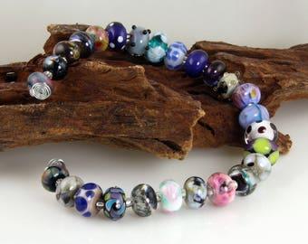 26 handmade mixed orphan lampwork beads sra multicolor lampwork beads stephanie white