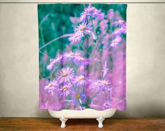 Ultraviolet Decor, Purple Shower Curtain, Purple Bathroom, Flower Bathroom Decor, Flowers Shower Curtain, Daisies, Purple and Green