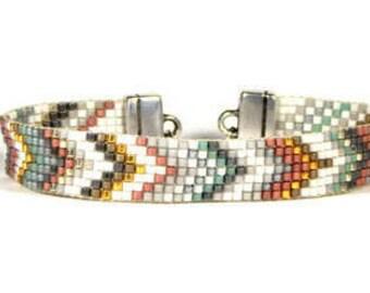 Bead Loom Bracelet Blue Pink Chevron Seed Bead Bracelet Boho Bracelet Bohemian JewelryAC06