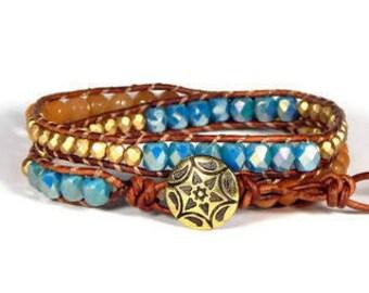 Leather Wrap Bracelet Blue Orange Gold Bracelet Two Row Boho Bracelet Bohemian Jewelry
