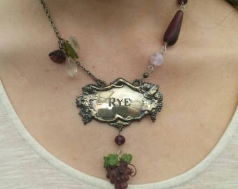 PURPLE RYE  vintage assemblage necklace silver bottle tag necklace so antique