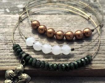 Expandable Beaded Bangle Bracelets- copper flower set of 3- adjustable bangle, stacking bracelets