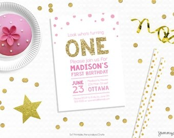 Personalized Printable Gold One Invitation - Pink & Gold Confetti Invitation Favor Tag or Printable Party First Birthdays, Baby Showers