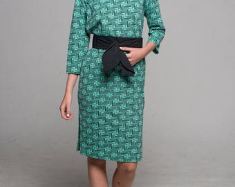 60s Green Geometric Cheongsam Dress / 1960s Vintage Asian Dress / Mod Dress / Size S/M