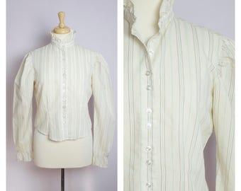 Vintage 1980's Cream Pin Striped High Ruffle Collar Edwardian Blouse M