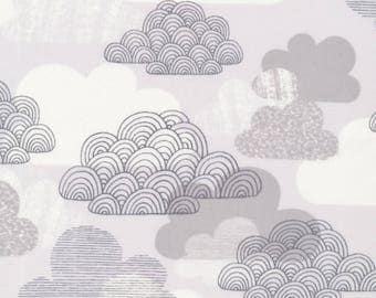 13 x 20 LAMINATED cotton fabric (similar to oilcloth) - Organic Matte - When skies are gray clouds - wipeable tablecloth fabric