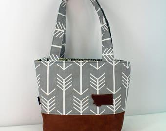 Lulu Medium Tote  Bag - Gray Arrow with Montana Patch and PU Leather - READY to SHIP
