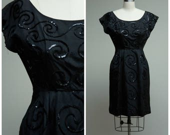 Vintage 1950s Dress • Dazzle Date • Black Sequin Rayon Faille 50s Cocktail Dress Size Small