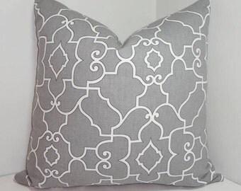 INVENTORY REDUCTION Covington Grey & White Geometric Trellis Pillow Cover Decorative Pillow Cover 18x18