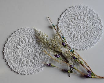 "Small Crochet Doily Pair - White - Lacy Small Mini 6 1/2"" - Set of 2"