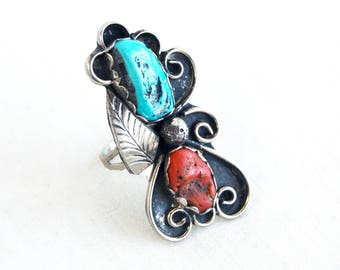 Huge Turquoise and Red Coral Ring Size 7 .25 Vintage Sterling Silver Southwest Flower Succulent Boho Statement Jewelry