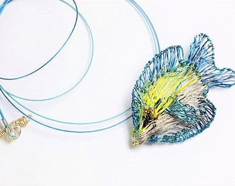 Fish necklace, lemon yellow blue necklace, wire sculpture art fish pendant, ocean animal jewelry, boho, Summer, Winter, unusual gift for her