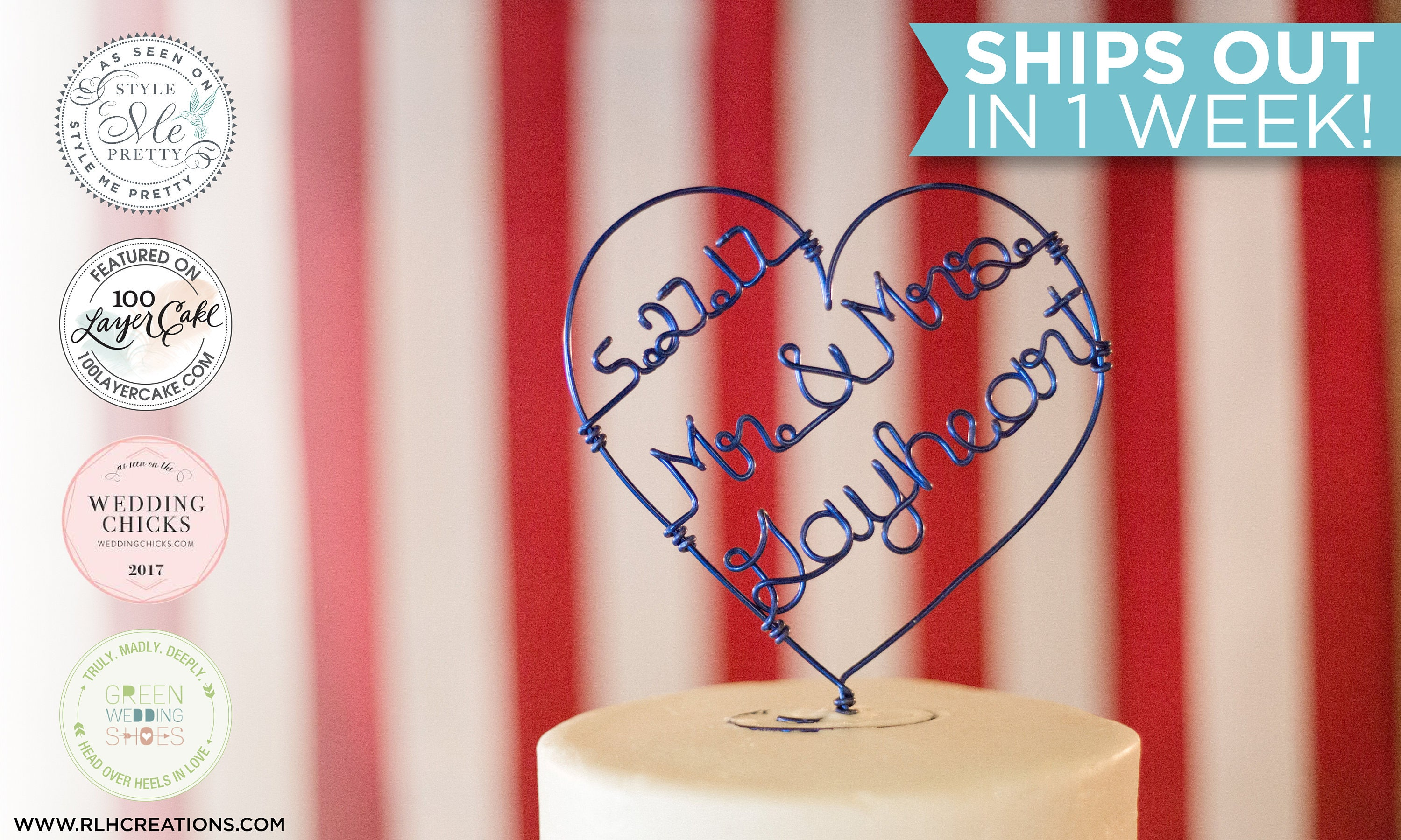 Custom Name Cake Topper / Wire Cake Topper / Heart Cake Topper ...