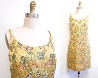 Vintage 1960s Dress   Gold Floral Brocade 1960s Cocktail Dress   size small - medium