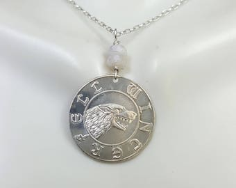 Winterfell Silver coin necklace. Game of Thrones jewelry. Ned Stark Warden of the North. House of Stark. Stark necklace. Dire Wolf necklace.