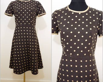 Chic VINTAGE 1960s Brown Fawn Embroidered Spot Dress UK 14 EU 42 Mod/ Classy Elegance / Scooter Dress / Quality Wool