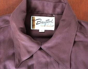 1950s Vintage Gabardine Shirt Brentwood Sportswear Zipper Front Pockets Short Collar Chin Loop