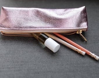 SMALL Leather Pencil Case. Small Leather Brush Bag. Artist Pencil Case. Small Pencil Case. Metallic Leather