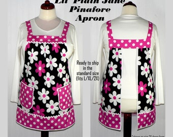 No Tie Apron (Lil Plain Jane in Fuchsia) Loose Fitting Pinafore Apron, all day apron, just one READY TO SHIP in this size, retro smock apron