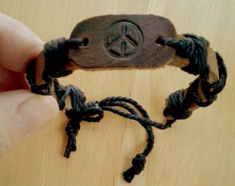 PEACE SIGN Leather & Rope Bracelet Unisex