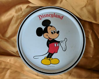 Vintage 60s 70s Disneyland Mickey Mouse Souvenir Tray Metal Disney Parks Exclusive *eb
