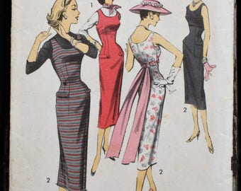 Advance 8134 1950s 50s Scoop Neck Empire Jumper or Wiggle Dress Cummerbund Vintage Sewing Pattern Size 12 Bust 32