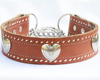 """XL Martingale Leather Dog Collar, Hearts and Leather Martingale Collar , Large Dog Leather Collar, Made in USA, Size Large 19-21"""" inches"""