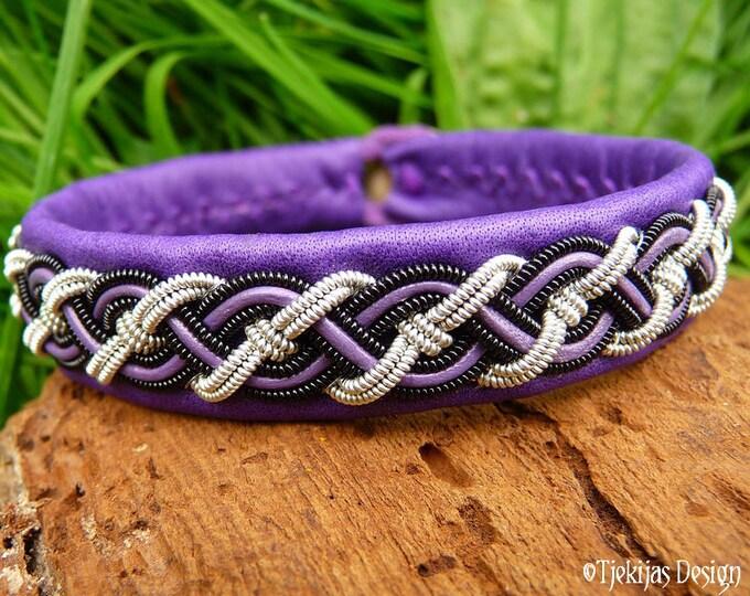 Sami Bracelet NIFLHEIM Nordic Viking Cuff Bracelet in silksoft Purple Leather with Spun Pewter and Black Copper Braid - Handmade Unisex Cuff