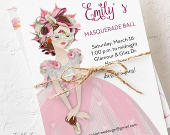 Birthday Party Invitations - It's a Masquerade Ball (Style 13139)