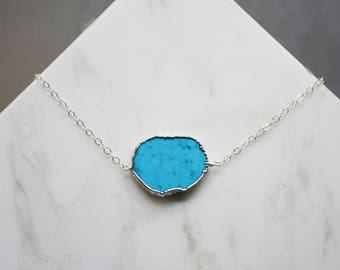 Turquoise Necklace, Gold Turquoise Necklace, Turquoise Pendant, 14kt Gold Filled, Slice Pendant Necklace