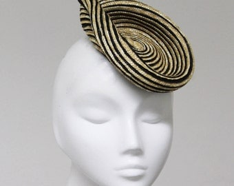 The Optifique Hat  - Black & Natural Straw Fascinator