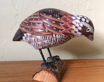 Carved Wood Quail On Wood, Carved Bird, Painted Wood Bird, Bird Decor, Possibly Bobwhite Quail, Woodland Bird