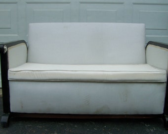vintage sofa,art deco style,mid-century modern settee,bergere couch,glamour settee,funky parlor sofa,vintage living room sofa